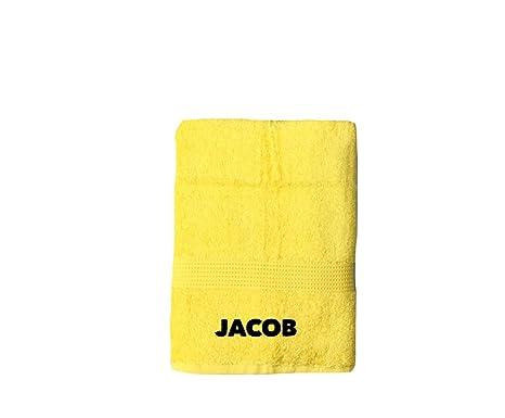 Personalizado Bordado Toalla de baño, color amarillo