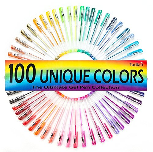 (Tadkin Gel Pens Set of 100 - Metallic, Pastel, Neon, Classic and Glitter Coloring Pack)