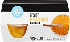 Amazon Brand - Happy Belly Fruit Bowls, Yellow Cling Diced Peach in 100% Juice, 4 Count, 4 Ounce Bowls