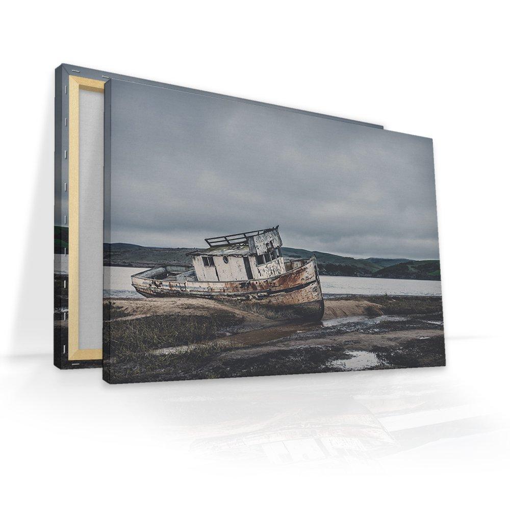 malango® Leinwandbild - Altes Boot 150 x 100 cm