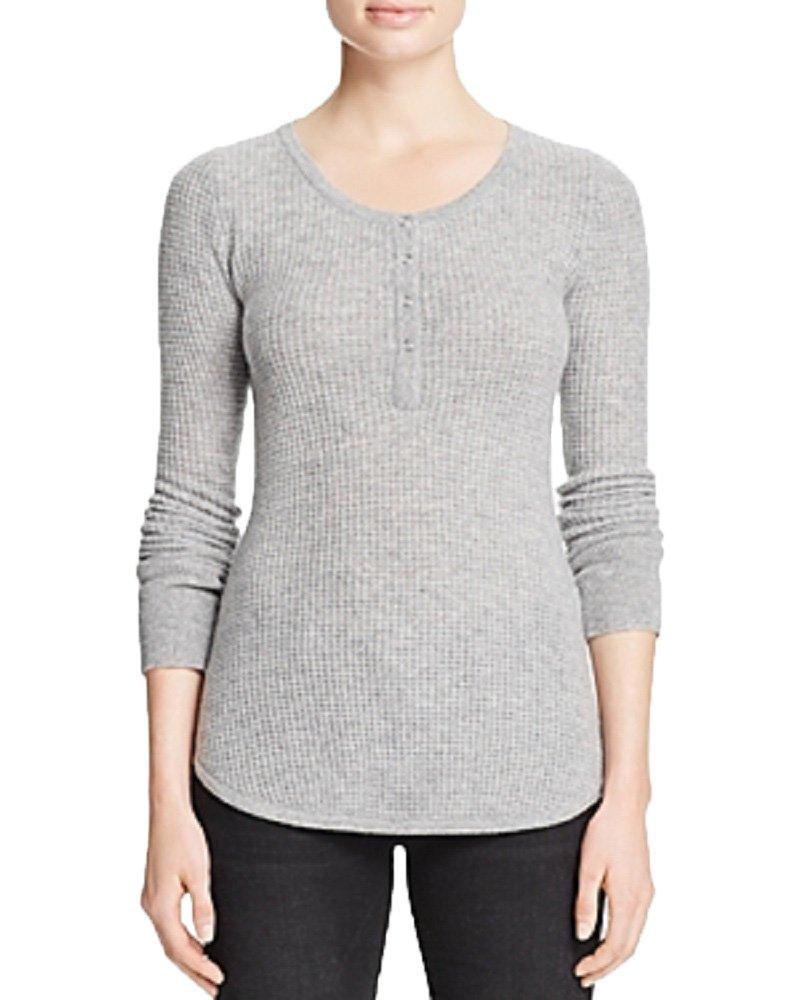 AQUA Cashmere Waffle Knit Henley Cashmere Sweater (Flannel, M)