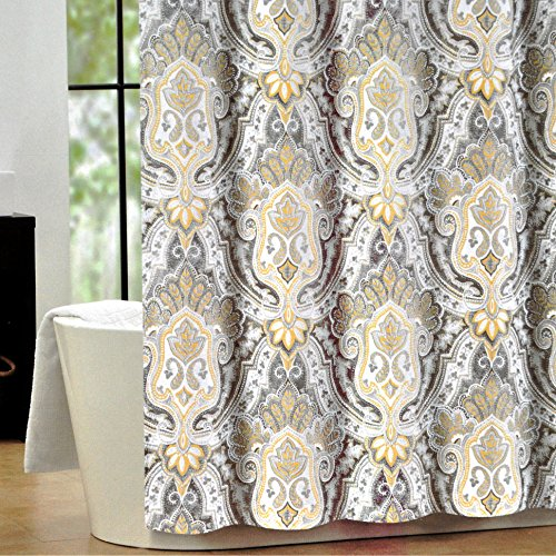 Tahari Luxury Cotton Blend Shower Curtain Yellow Gray Paisley On White Izmir