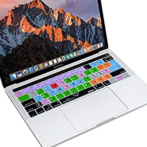XSKN Mac Logic Pro X English Shortcut Functional Hotkey Design Silicone Keyboard Skin Cover for 2016 Touch Bar MacBook Pro 13 (A1706) & MacBook Pro 15 (A1707), US EU Layout
