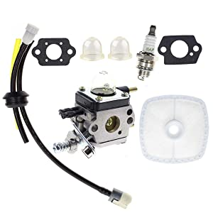 Carbhub C1U-K54A Carburetor for 2-Cycle Mantis 7222 7222E 7222M 7225 7230 7234 7240 7920 7924 Tiller / Cultivator Carb with Air Filter Repower Kit