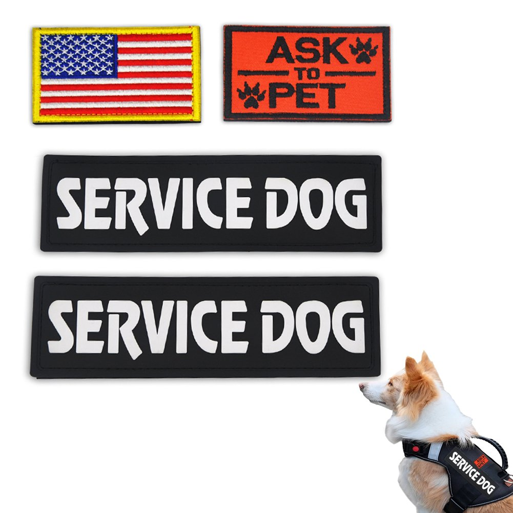 Elutong Dog Pathes 2 Pack Service Dog Reflective Light in The Dark - Ask to Pet Tags for Hook and Loop Patches Vests and Harnesses for Dogs, Puppy,Pets