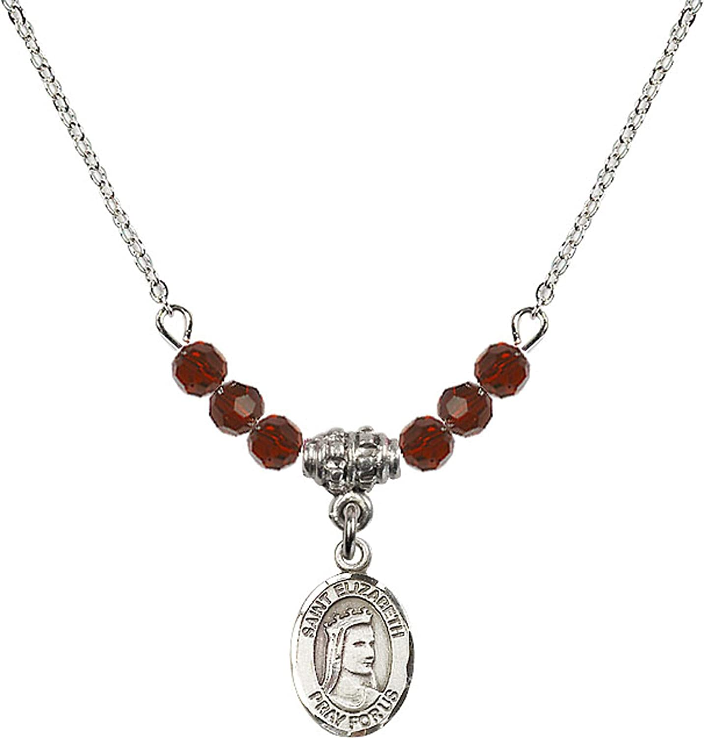 Bonyak Jewelry 18 Inch Rhodium Plated Necklace w// 4mm Red January Birth Month Stone Beads and Saint Elizabeth of Hungary Charm