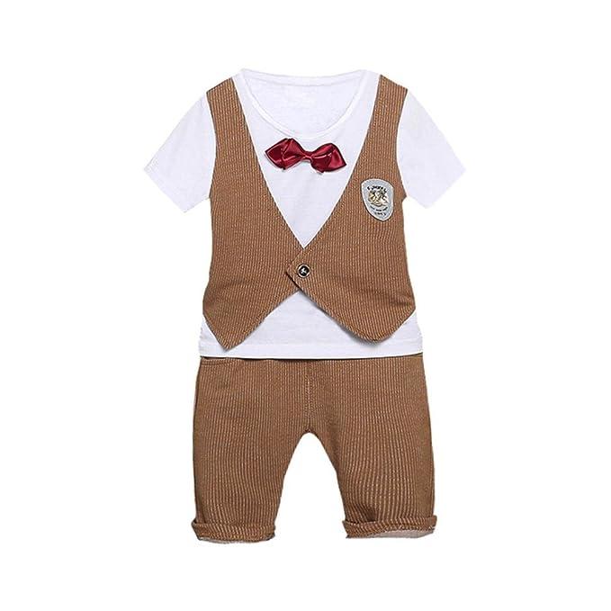 BYSTE Bambino Ragazzo Carino Piccolo Gentiluomo Cravatta Manica Corta Gilet  Camicie Pullover Felpa Maglietta Neonato Estate T-Shirt Top+ Bambini  Pantaloni ... 8bf8f88d6bd