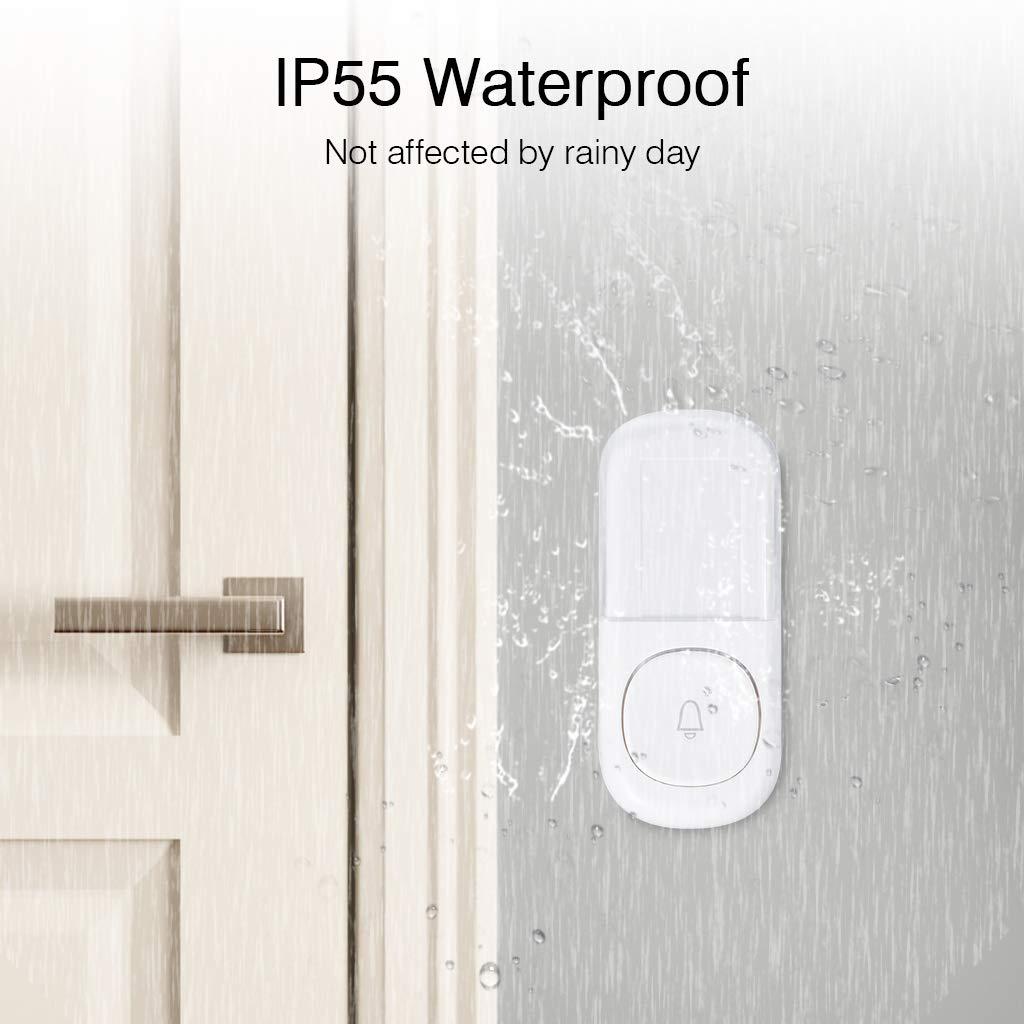 ZIGLINT Wireless Doorbell, No Batteries Required, IP55 Waterproof Door Bell Operating at over 500-feet Range, Door Chime Kit with 2 Receivers, 58 Chimes and 4 Adjustable Volume Levels, White by ZIGLINT (Image #4)