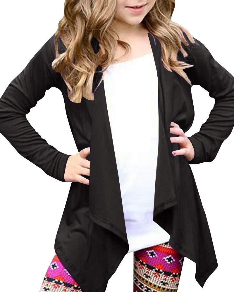 KunLunMen Girls Open Front Lightweight Cardigan Long Sleeve Wrap Swing Cover up