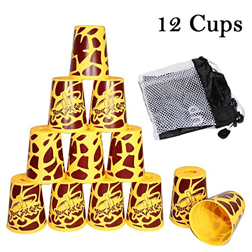 Amhii Quick Stack Cups Set of 12 with Quick Release Stem - Sports Stacking Cups Speed Training (Graffiti Yellow)