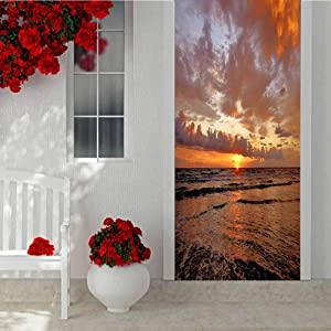 Home Decor 3D Self Adhesive Door Sticker, Sunrise on South Padre Island Texas, Home Decoration Self-Adhesive Removable Art Door Decals W30.3 x L78.7 Inch