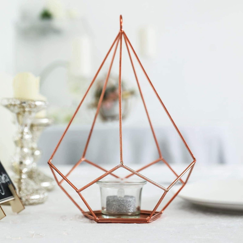 Efavormart 2 Pack Rose Gold 9 Metal Pentagon Geometric Tealight Candle Holders Geometric Floral Centerpiece Home Kitchen