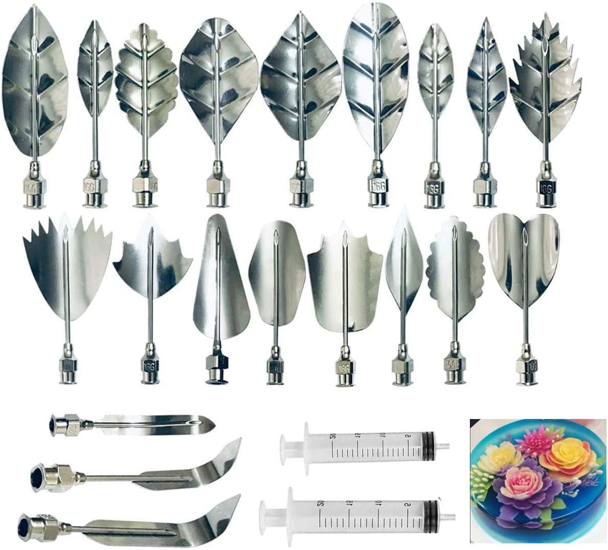 Gelatin Art Starter Kit - 3D Jelly Flower Cake Decorating Tool Set of 20 Piece DIY Needle Tips Pastry Tools