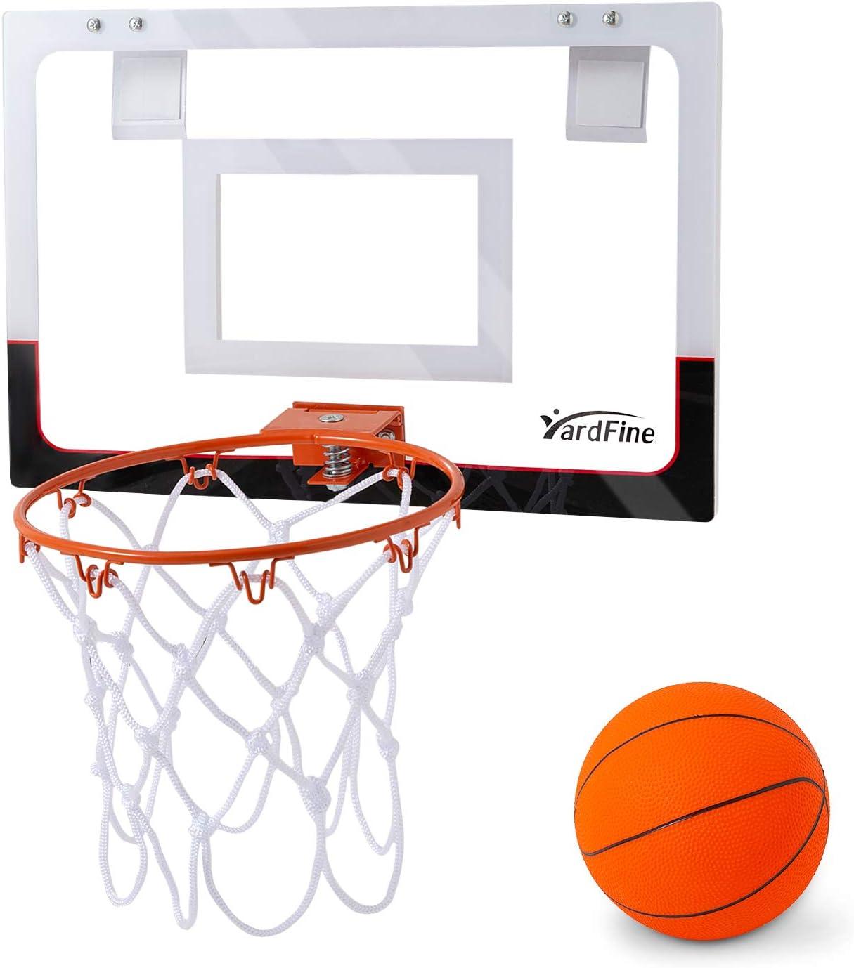 YardFine Mini Basketball Hoop Over The Door with Premium Basketball & Pump Backboard Mini-Hoop Gift for Boys Kids Teens