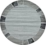Unique Loom Del Mar Collection Contemporary Transitional Light Gray Round Rug (8′ x 8′)