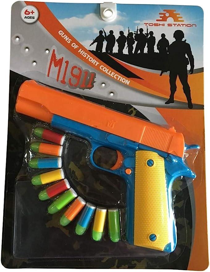 TOY GUN DOUBLE BARREL BEST KIDS TOY GUN PISTOL SAFE SOFT AMMO DOUBLE BARREL GUN