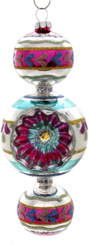 Shiny Brite VC Three Ball Drop W//Reflector Glass Ornament 4027656.