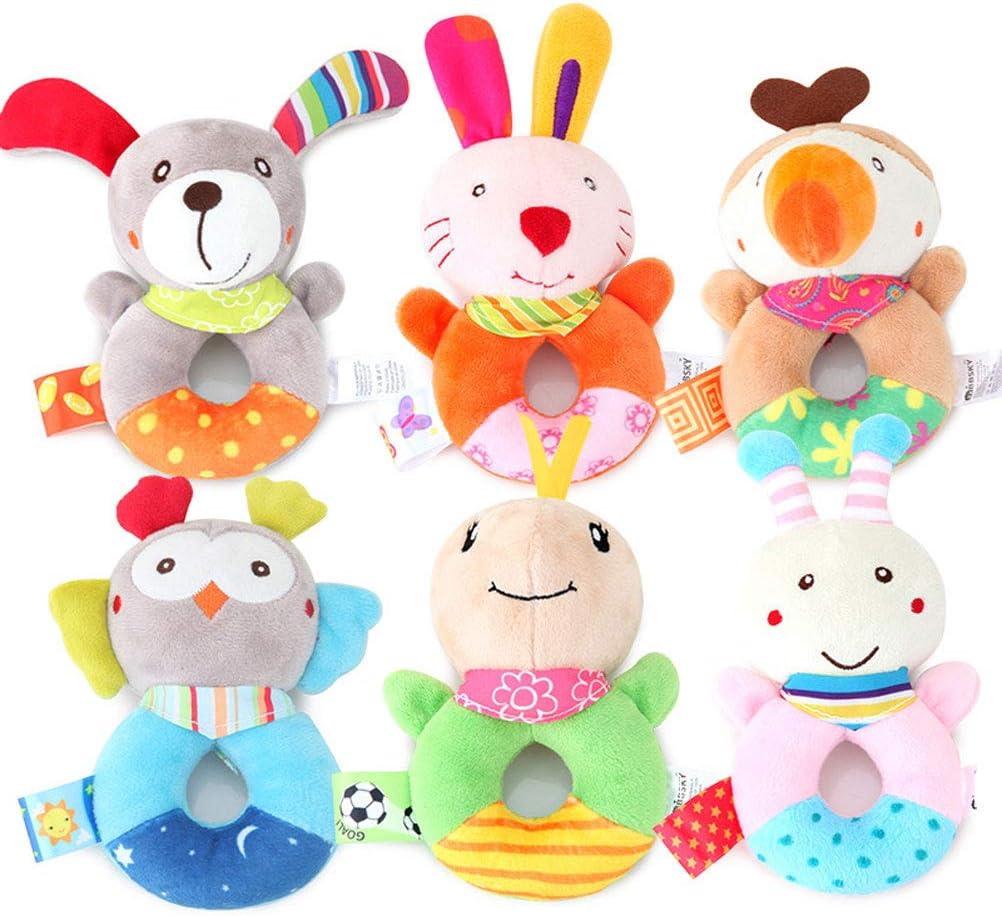FLORMOON Sonajeros de muñeca de bebé  - Juguetes de bebé de Mano para bebés  - Lindo Animal de Peluche con Sonido para 3, 6, 9, 12 Meses y Regalo para recién Nacido - Set de Sonajeros Suave Bebé