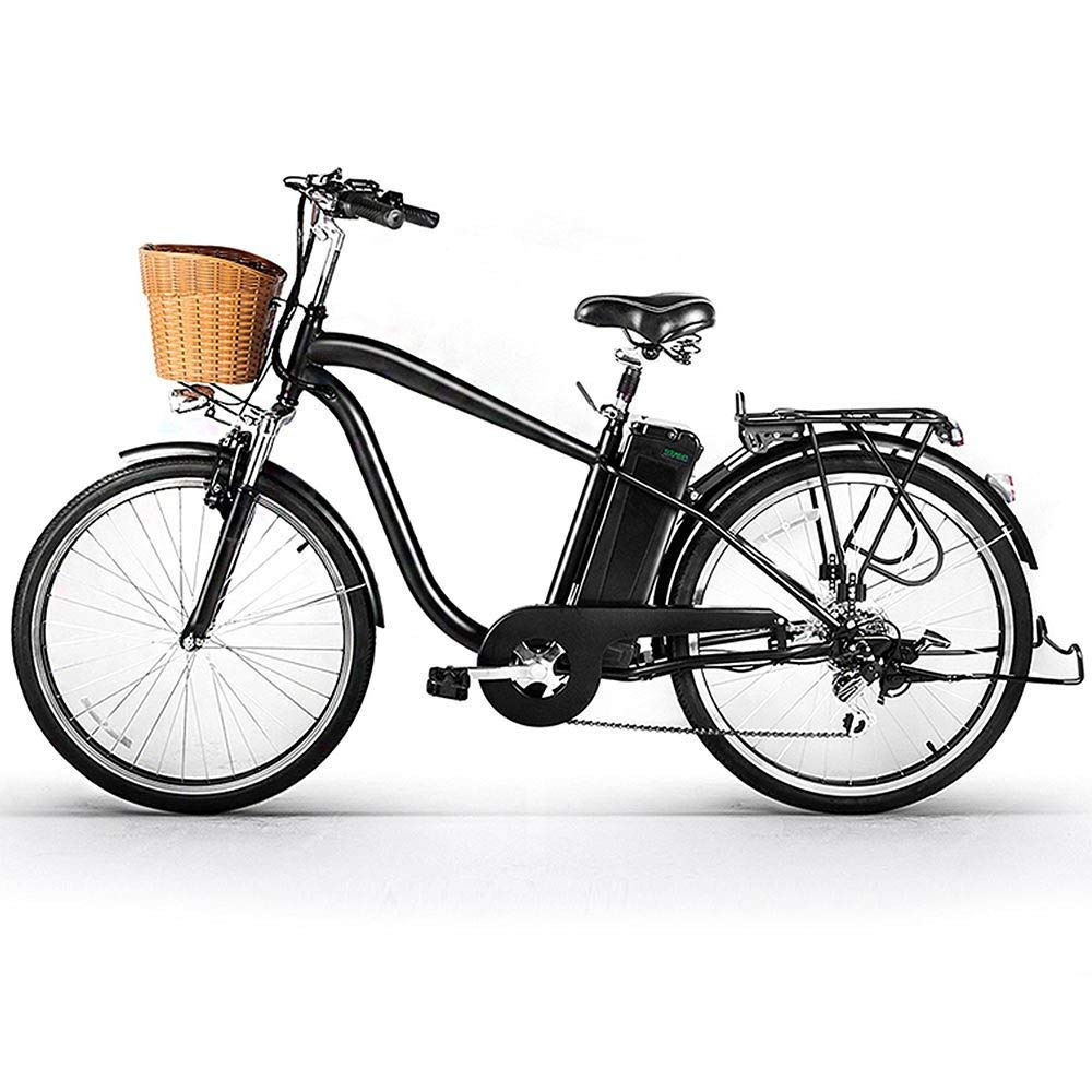 NAKTO 26 City Electric Bicycle and Assisted Bicycle for Men with Removable 36V 10A Large Capacity Lithium Battery and Charger Black 26 Spark-MBlack