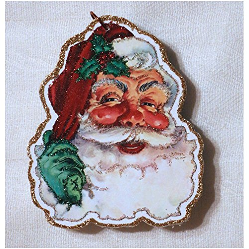 Santa Claus Glittered Wooden Ornament Vintage Christmas Card Decor ~~Santa Claus #2 Handmade in USA