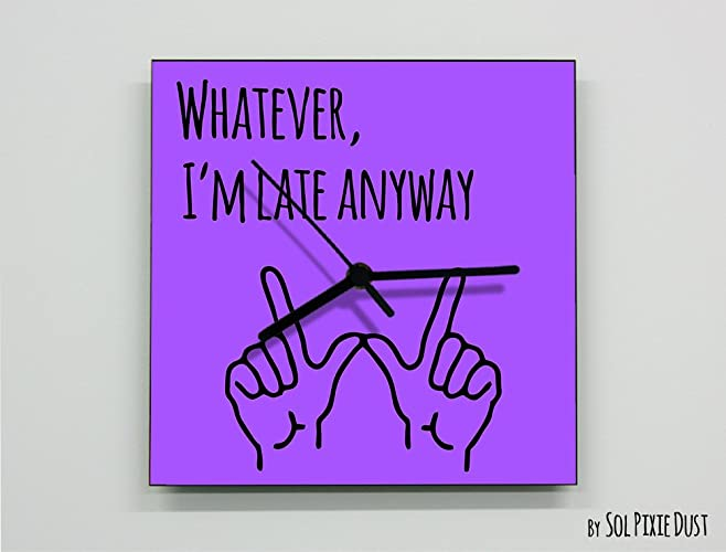 Whatever Im Late Anyway Hand Symbol Square Purple Wall Clock