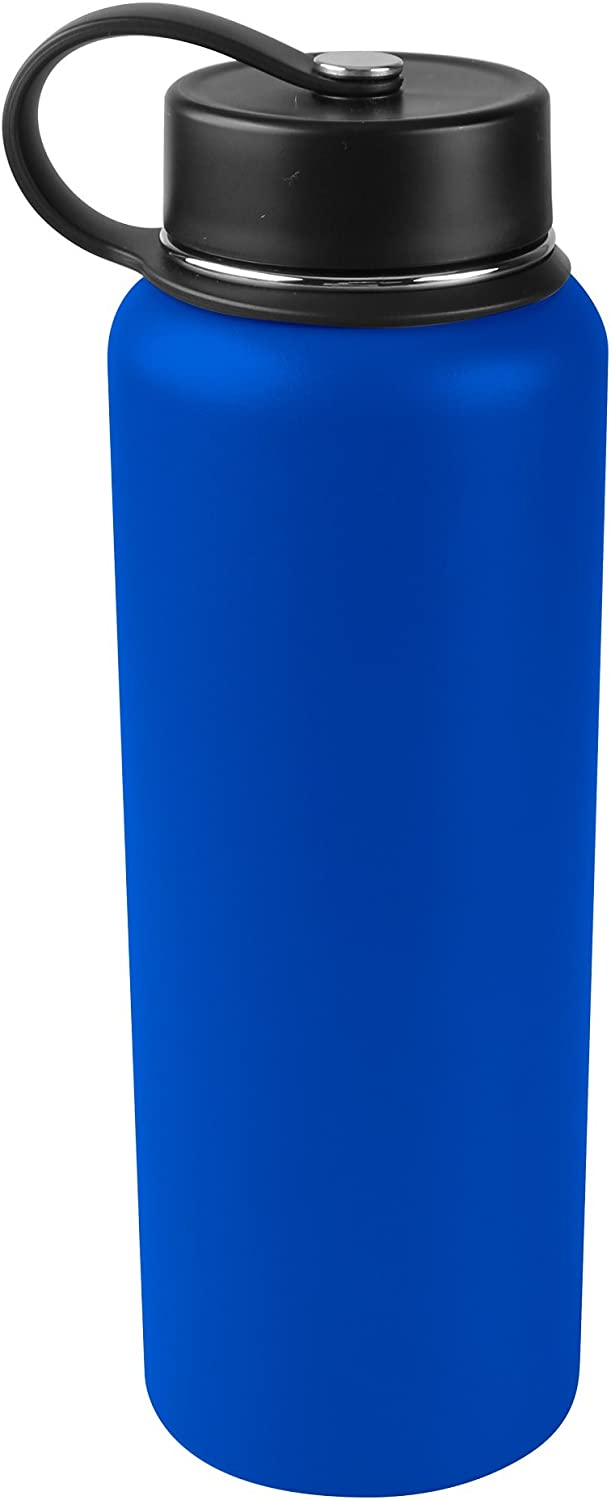 Tahoe Trails 40 oz Double Wall Vacuum Insulated Stainless Steel Water Bottle, Royal blue
