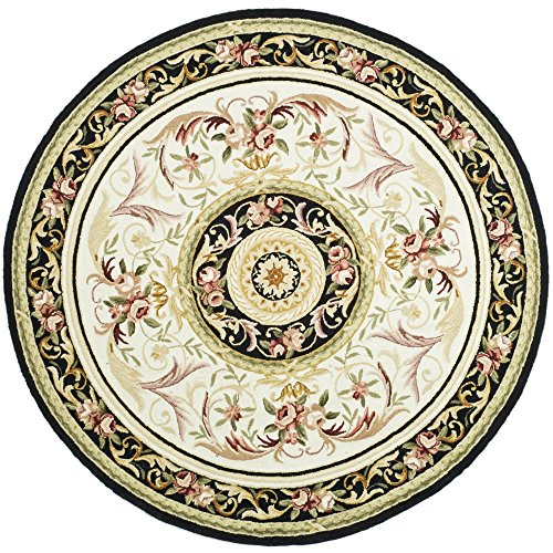 Safavieh Chelsea Collection HK72B Hand-Hooked Ivory and Black Premium Wool Round Area Rug (3' Diameter)