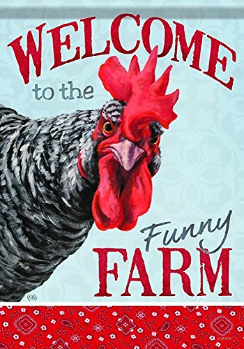 me Decor Flag Classic Garden Flag, Welcome Funny Farm Chicken ()