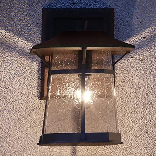 Luxury Rustic Outdoor Wall Light, Medium Size 15.5 H x 10.625 W, with Craftsman Style Elements, Coffee Bronze Finish, UHP1072 from The Gold Coast Collection by Urban Ambiance