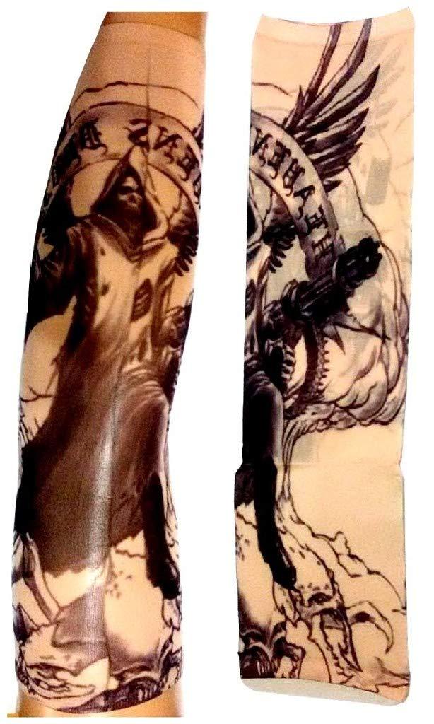 EVRYLON Mangas Efecto Tatuaje Hombre ángel Muerte Esqueleto cráneo ...