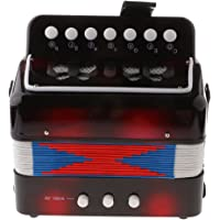 KESOTO 7 Keys Kids Button Accordion Musical Instrument Educational Toy Gifts Black