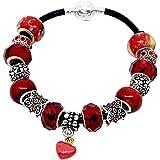 Souarts Womens European Charm Bracelet With Red Murano Glass Beads Rhinestone Heart Charms 20cm