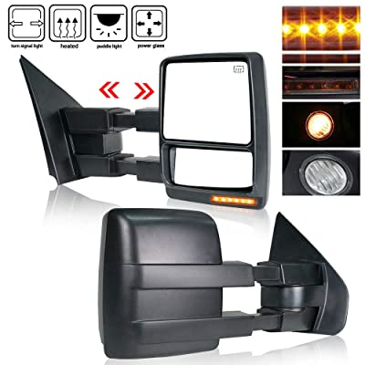 Spead-Vmall New Towing Mirrors Replacement Side View Tow Mirrors Amber Turn Signal Light Puddle Light Manual Telescoping Power Heated | Fits Ford F150 2007-2014: Automotive
