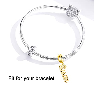 Buy Persoanlized Name Charm Fit For Pandora Bracelet Custom Any Name Initial Letter Number Date Name Plate Bead For Bracelet Online In Indonesia B08nyy4yqn