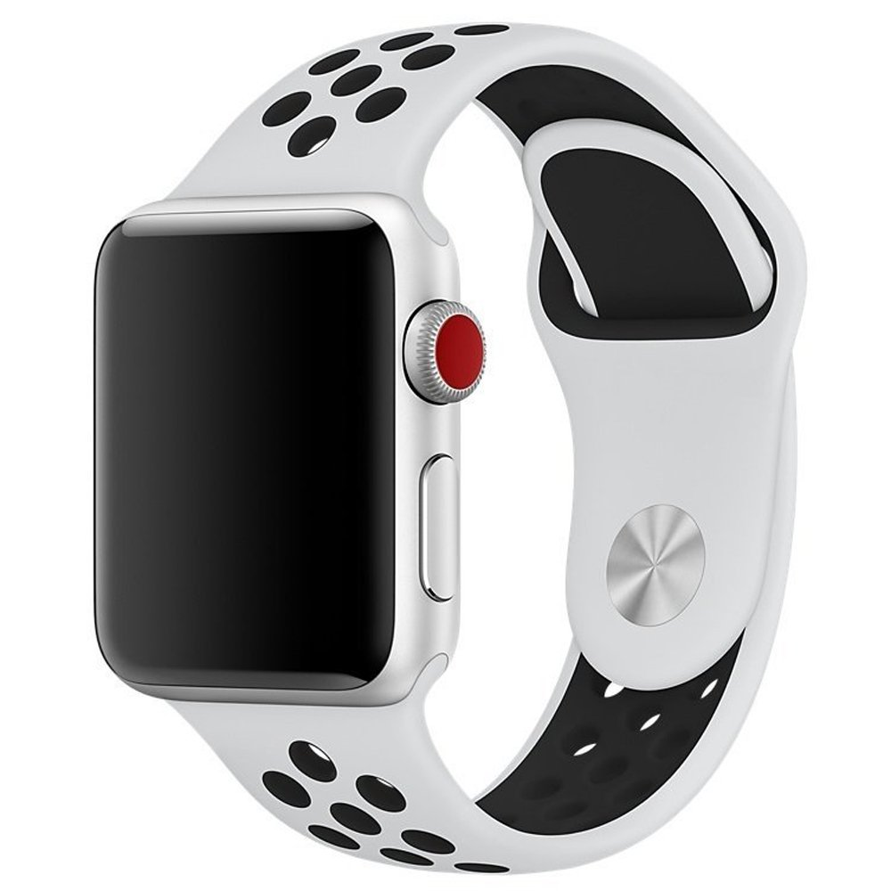 Band for Apple Watch 42mm Aroko Silicone Sport Straps Replacement Wristband Bracelet for Apple Watch Series 3 / Series 2 / Series 1 / Nike+ 42mm M/L(White+Black, 42mm)