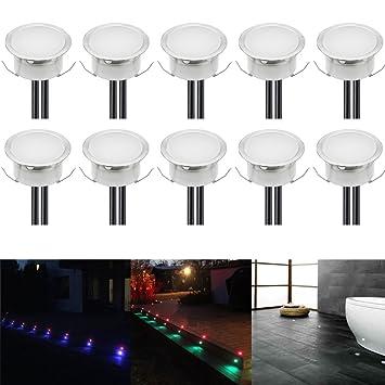 10er Set LED Boden Einbaustrahler Außen Ø40mm 0.4W Farbwechsel IP67 ...