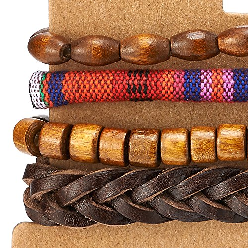 4 Mélanger Brun Envelopper Bracelet Homme Femme, Multi-brins Bracelet en Cuir Bois Perles Coton, Ethnique Tribal