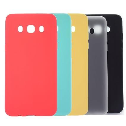 5 X Funda Galaxy J7 2016, WindTeco Carcasa Ultra Delgado Silicona TPU Gel Protector Flexible Cover Funda para Samsung Galaxy J7 2016, Rojo, Azul ...