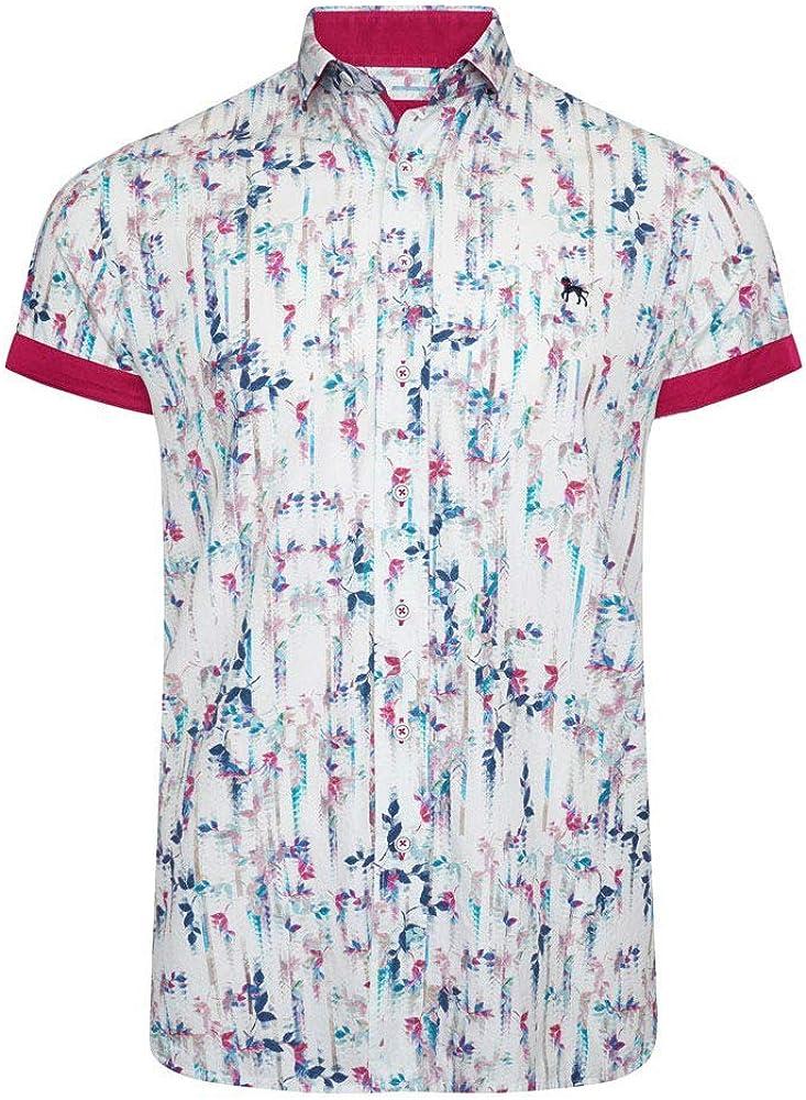 Bewley & Ritch - Camisa Casual - Floral - Cuello Italiano - Manga Corta - para Hombre Blanco Blanco XL: Amazon.es: Ropa y accesorios