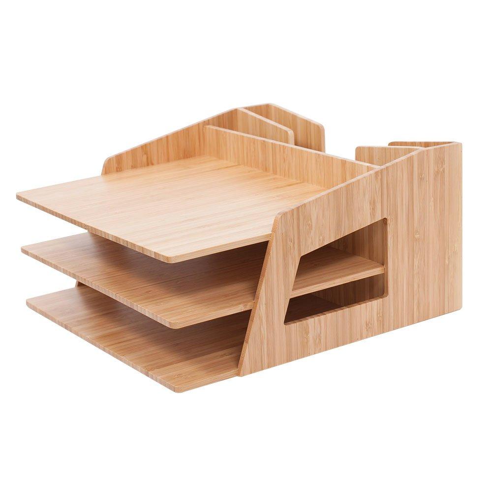 MobileVision Office Desktop Bamboo Organizer for Files, Paper Tray, Letter Sorter, Document Holder, 5 Sections