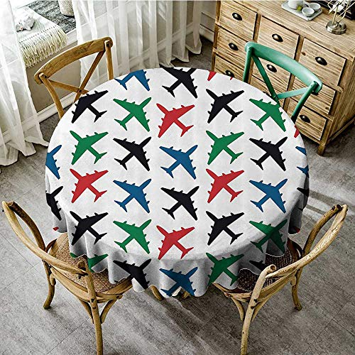 familytaste Circular Table Cover Washable Polyester Airplane Decor Collection,Plane Pattern Aircraft Fighter Jet Transportation Speedy Retro Airborne Image,Black Green Red Blue D 54