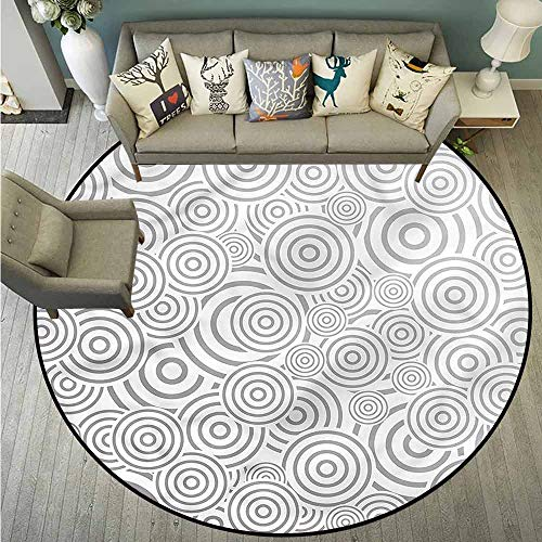 Pet Rugs,Grey,Circles with Stripes Pattern,Anti-Slip Doormat Footpad Machine Washable,3'3