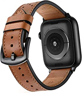 Mifa Compatible with Apple Watch 6 SE 5 4 44mm 42mm iwatch Series 1 2 3 Leather Band Nike Sports Replacement Strap Bands Dressy Classic Buckle Vintage case Black Stainless Steel Adapters Brown