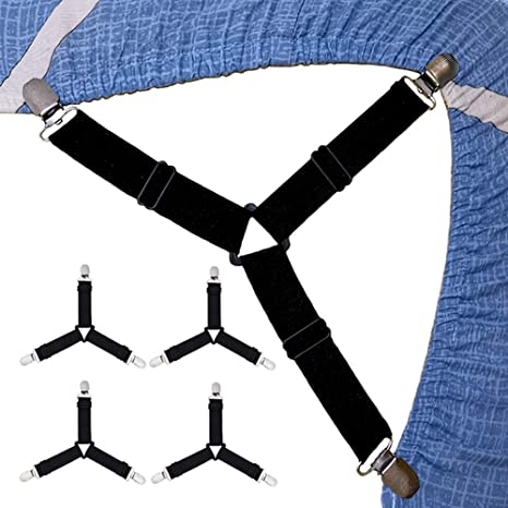 WSupikio 4pcs//Set Sheet Straps Bed Suspenders Band Adjustable Fitted Bed Sheet Corner Holder Elastic Straps Fasteners Clips Mattress Pad Cover Grippers