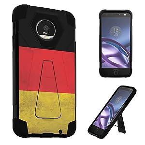 Moto Z Driod Case, Moto Z Case, DuroCase Transforma Kickstand Bumper Case for Motorola Moto Z Driod / Moto Z (Released in 2016) - (Germany Flag)