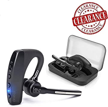 Amazon Com Bluetooth Headset Wireless Bluetooth Earpiece Headphones Earbuds Ear Hooks Earphones With Mic And Carrying Case For Business Office Driving Truck Support Iphone Android Cellphones Black Home Audio Theater