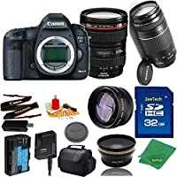 Great Value Bundle for 5D MARK III DSLR – 24-105MM L + 75-300MM III + 32GB Memory + Wide Angle + Telephoto Lens + Case
