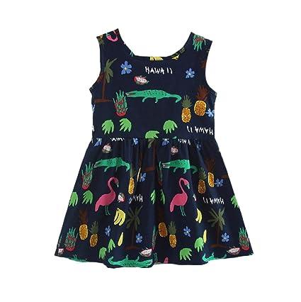 b92e752d Vicbovo 2018 Summer Clothes Girls Dresses Kids Toddler Baby Girl Sleeveless  Cartoon Print Bowknot Princess Dress