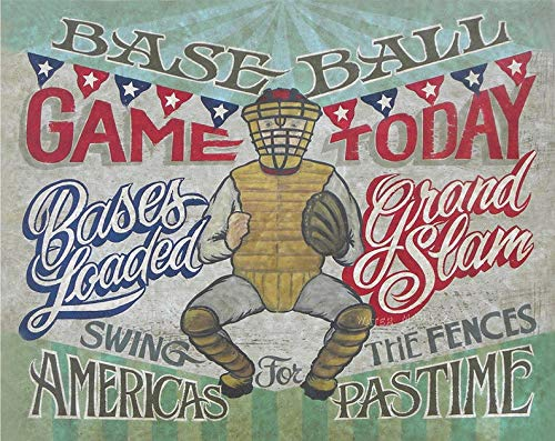 (Vintage Baseball Game Day Print from an original hand painted and lettered sign. Boys Room Decor, Man-Cave, Den Birthday Party Decor)