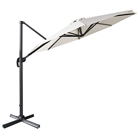 ABCCANOPY Offset Cantilever Umbrella 10 FT Outdoor Patio Hanging Umbrella Roma Umbrella UV50 360 Degree Rotation with Cross Base for Patio, Deck, Pool and Backyard Light Beige